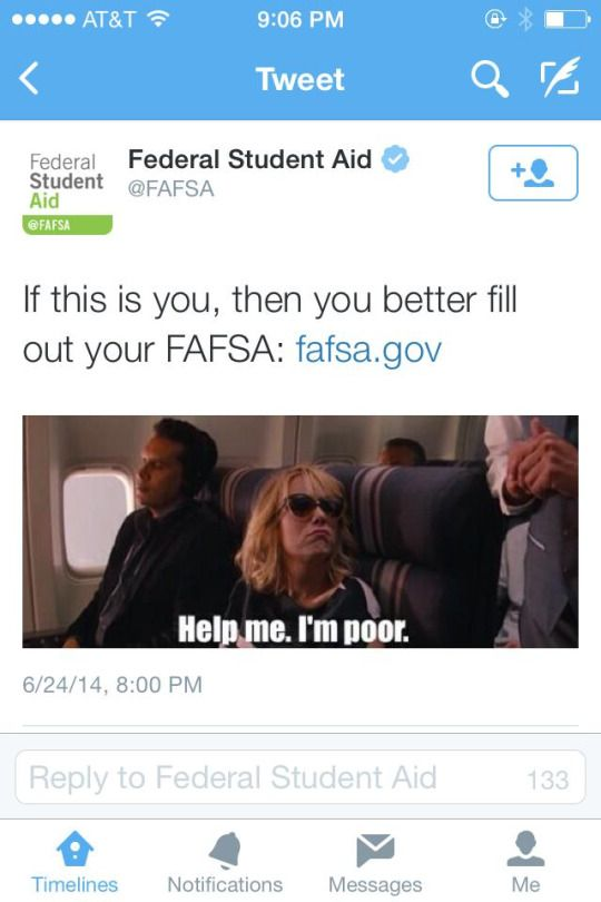 nikkisshadetree:  baronessvondengler:  ahzrah:  Fafsa really ain't shit Snarky tweets ain't for everybody… Mess out. They dont even give any money Tried applying for Fafsa from 16-23 and couldn't get anything because of their dependency rules, when I've been on my own and paid my own taxes since I was 16. Just because my dad f'd up his life with drugs and alcohol after my neglective mother divorced him - somehow I get punished for it by not being able to go to college, when I was one of the…