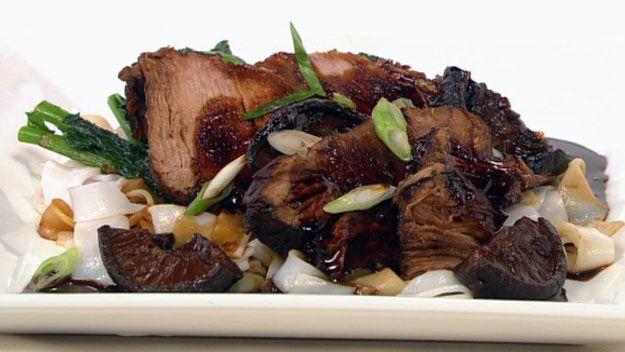 Pork with sticky asian glaze