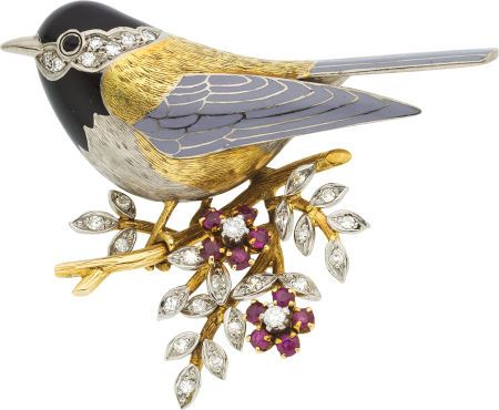 Estate Jewelry:Brooches - Pins, Diamond, Ruby, Enamel, Gold Brooch The brooch ... Image #1