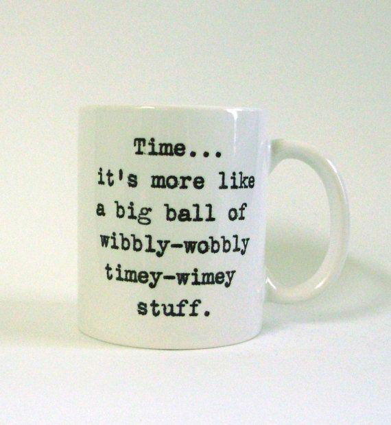 Wibbly Wobbly Timey Wimey White Ceramic Mug  by LaurasLovelyKnits, $15.00