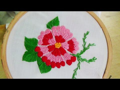 Hand Embroidery: Flower stitch (Swedish embroidery) - YouTube