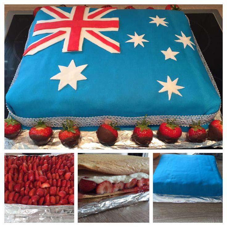 Erdbeer, schokoladen, mascaponecreme Torte - australische Flagge