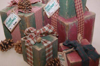 3 Super Easy & Super Cute Christmas Crafts! Rustic Wood Presents, Homemade Snowballs, Doorbell Wreath. by melisa