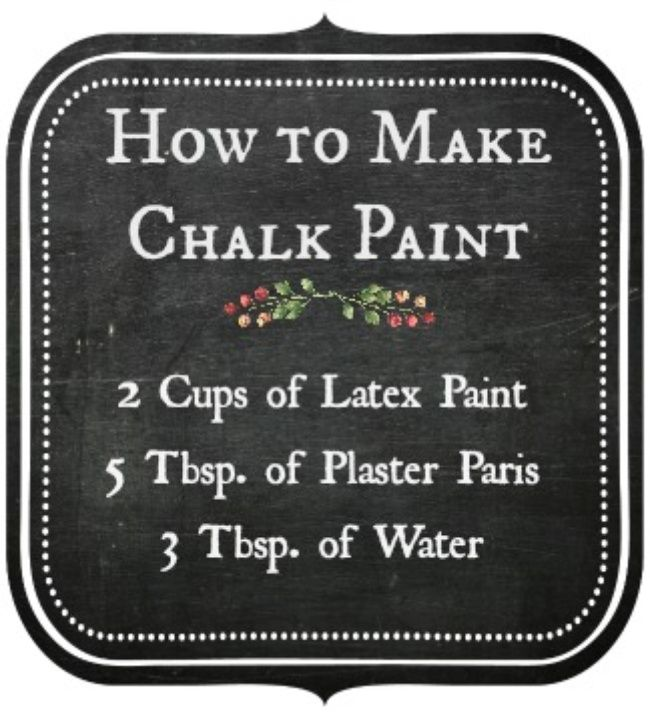 How to Make Chalk Paint.  This is way cheaper than purchasing the tiny containers at the Home store for 8$.  Great for larger projects.