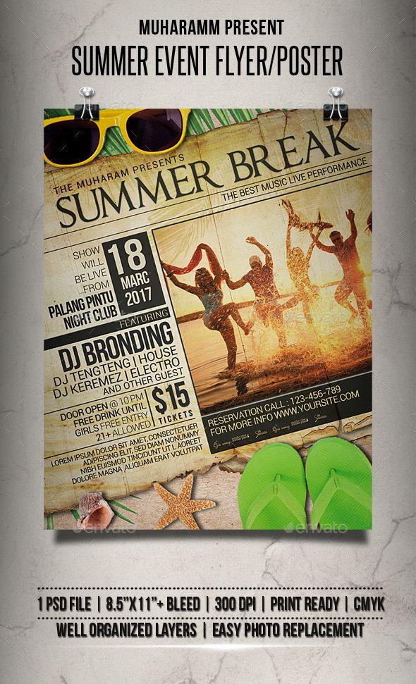 #Summer #Event #Flyer / Poster - Events Flyers Download here: https://graphicriver.net/item/summer-event-flyer-poster/19631492?ref=alena994