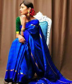 Love the colours....... Kanchipuram silk saree
