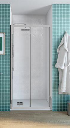 Mampara de ducha frontal de 2 hojas correderas para baño principal
