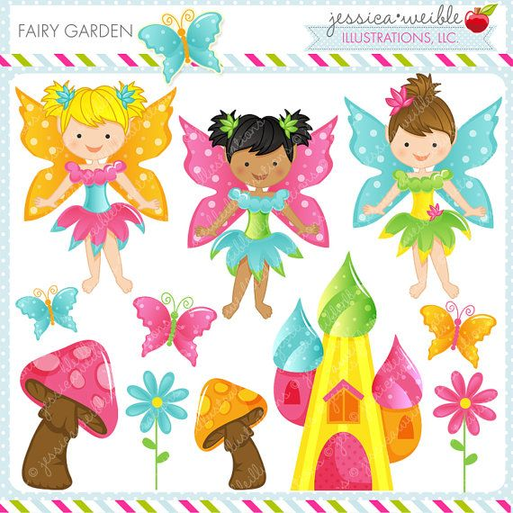 Fairy Garden Cute Digital Clipart Commercial by JWIllustrations