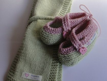 Hand Knitted Wool Scarf and Cross Over Shoe Set for Little ones