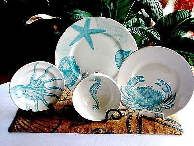 16 Pc ~222 Fifth COASTAL LIFE BLUE Plates, Bowls SERV/4 Dinnerware Set