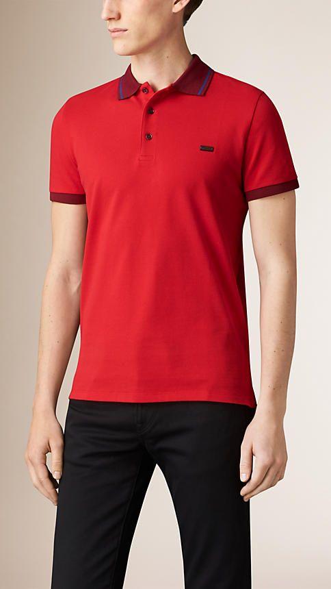 A cotton piqué polo shirt tipped with a contrast-colour trim.