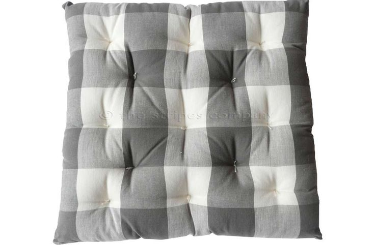 Gingham Seat Pads | Grey and White Large Check Chair Cushions | Buffalo Gingham Seat Pads