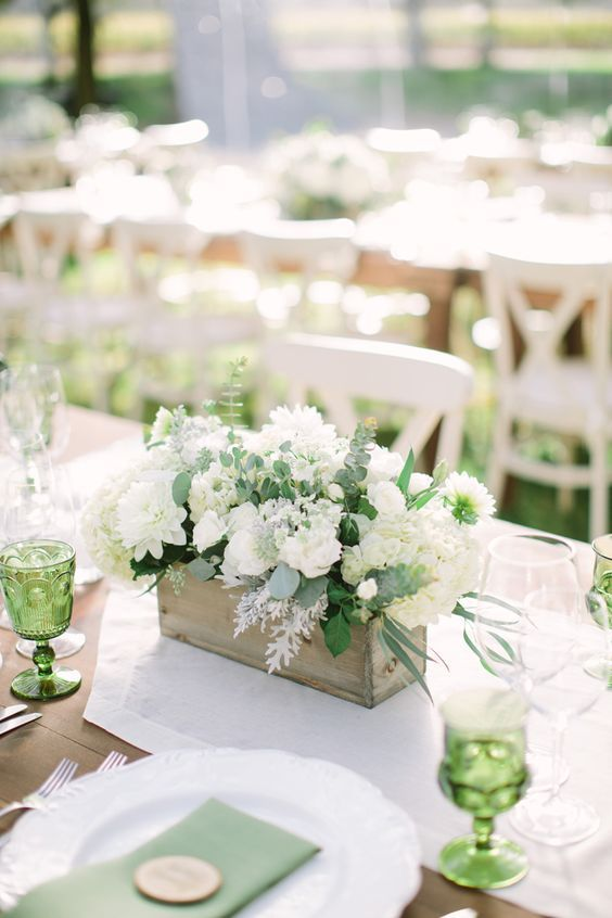 Rustic white & green wedding centerpiece in wood box / http://www.himisspuff.com/wooden-box-wedding-decor-centerpieces/10/