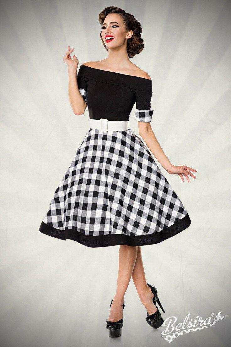 schulterfreies retro kleid mit tellerrock ebay