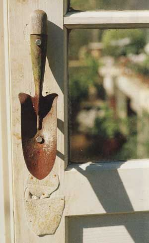 I just bought a ton of these at a flea market... I was going to make wall hooks out of them, but now another idea! door handle!!