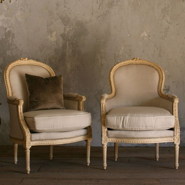 Eloquence One of a Kind Vintage Bergeres Cream Set of 2 @LaylaGrayce - cushions