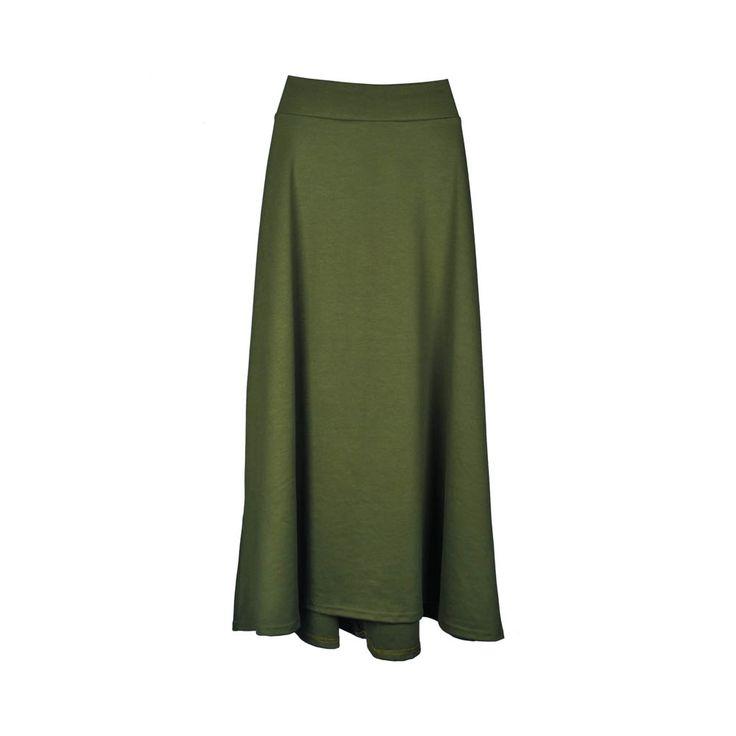 Pollera de mujer, verde musgo a la cintura larga.