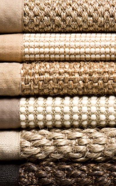 Throw rugs (Jute)...  Light on dark wood - cool texture - looks durable