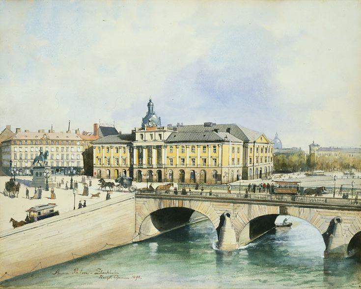 Anna Palm (1859-1924): Gamla Operan sedd från Helgeandsholmen, 1892