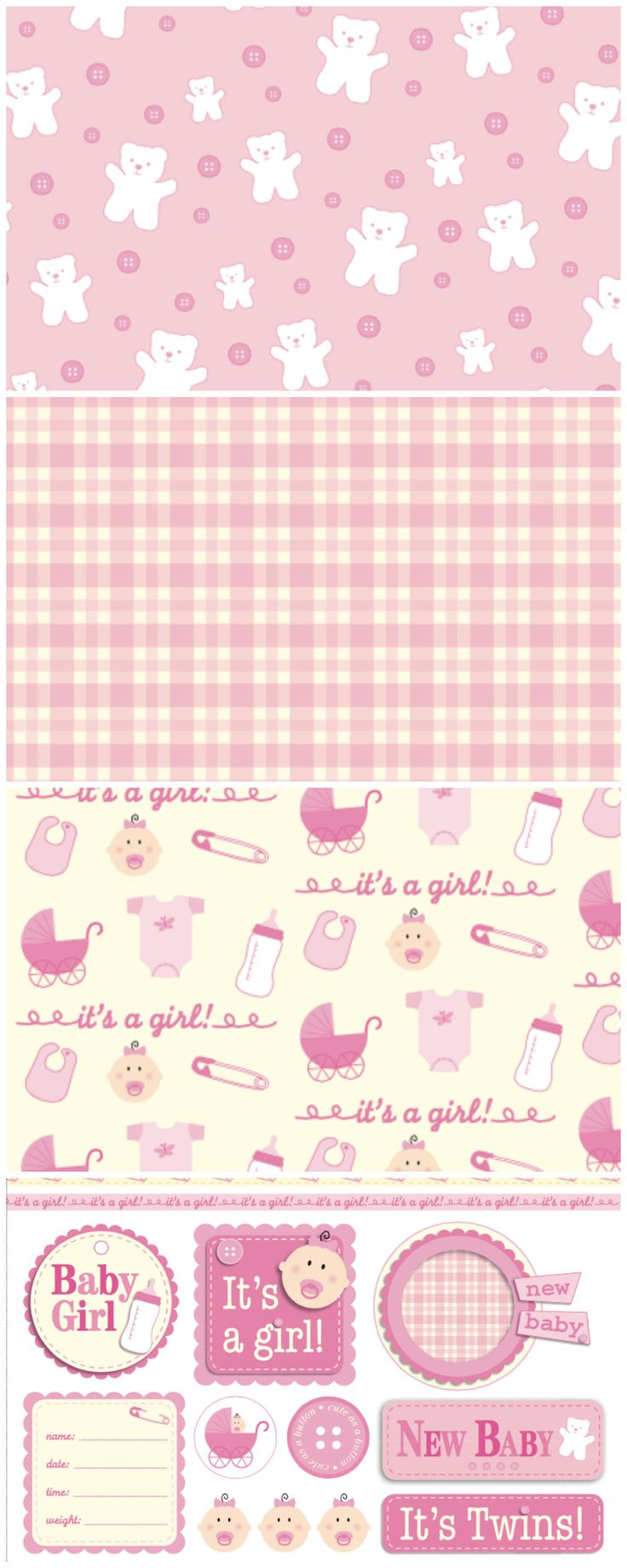 Use these pretty pink free digital papers to make a card or scrapbook for a new baby girl!