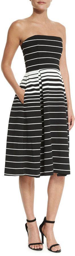 Nicholas Corsica Multi-Stripe Ball Dress, Black/White