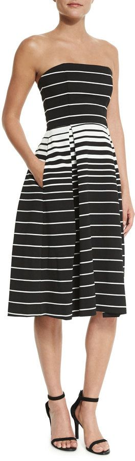 Nicholas Corsica Multi-Stripe Ball Dress, Black/White SAVE UP TO 75% OFF! CLICK FOR UPDATED SALES PRICE.