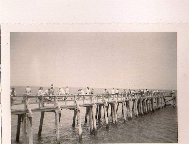 The fishing pier that extended from the former pavilion on for Tybee island fishing pier