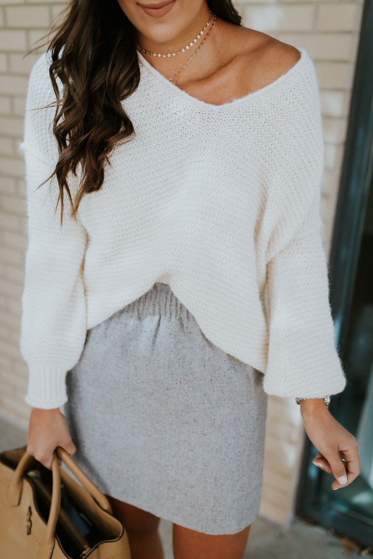 gray skirt, off the shoulder sweater, lace up booties, fall booties, layered necklace // grace wainwright @asoutherndrawl