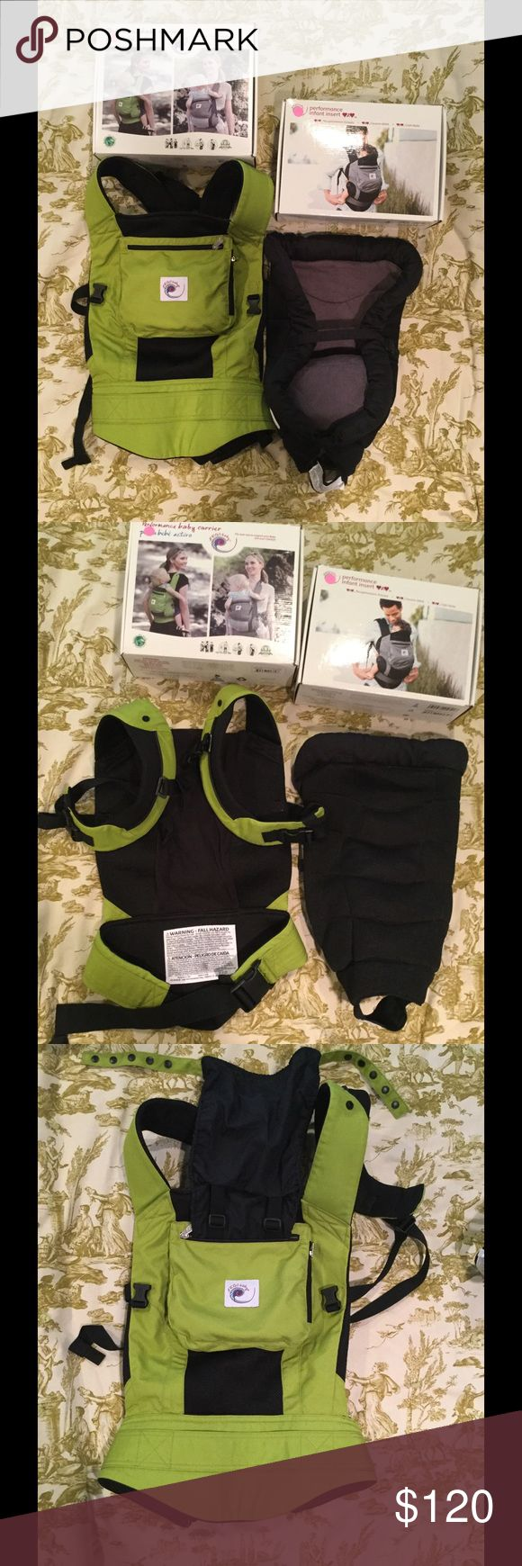 Ergo Baby Performance Carrier and Infant Insert Ergo Baby Performance Baby Carrier and Performance Infant Insert. Both are in EUC. The Ergo Baby carrier is the Spring Green/Black color and the Infant Insert is grey and black.   Both come with their original boxes. The boxes have some wear and tear. The manuals for both are also included.  