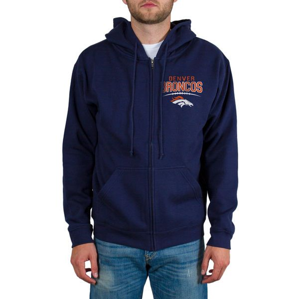 Denver Broncos Junk Food Comeback Route 2-Hit Full Zip Hoodie - Navy - $54.99