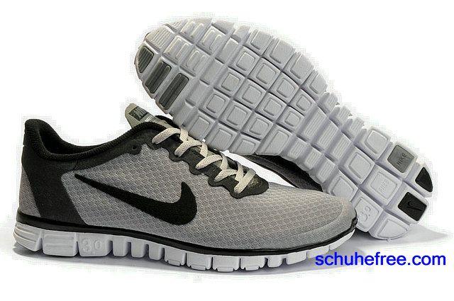 Herren Nike Free 3.0 V2 Kleine Net Schuhe Hellgrau Schwarz