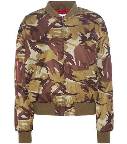 Buy it now. Greenwood Camouflage Printed Bomber Jacket. Greenwood Green And Brown Camouflage Printed Bomber Jacket By Ganni , chaquetabomber, bómber, bombers, elbowdiamond, baseball. Green Ganni  bomber jacket  for woman.
