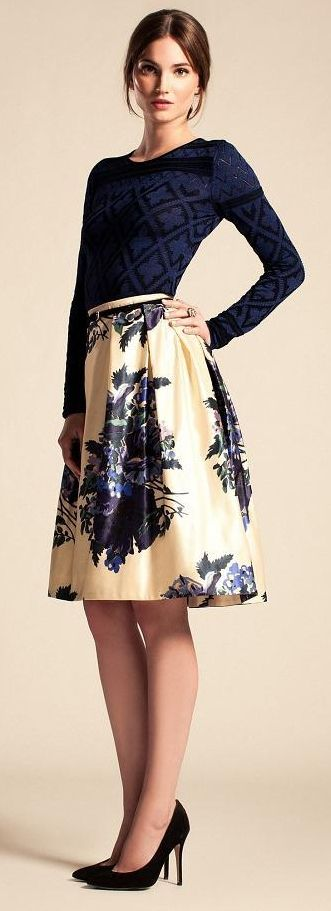 Temperley London Resort 2014. Love the texture on the top and the floral print on the skirt.