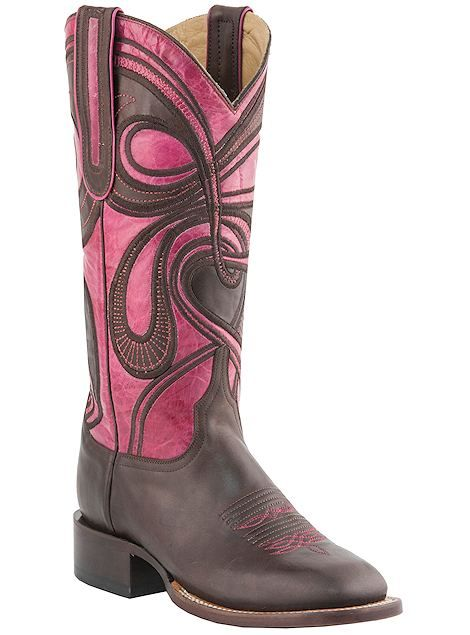Lucchese Bootmaker Women's Square Toe Fowler Heel Boot, Size: 9 B, Brown/Rose  Hypnotic Swirl