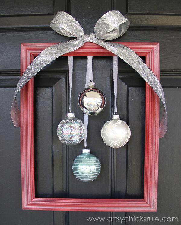 Easy, DIY Framed Ornament Wreath - finished - Welcome Home Tour - #wreath #diy #ornamentwreath artsychicksrule.com                                                                                                                                                                                 More