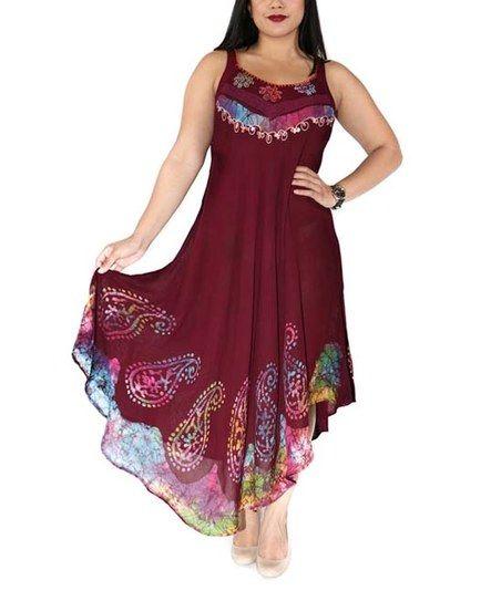 Shoreline Burgundy Paisley Asymmetrical-Hem Maxi Dress   zulily