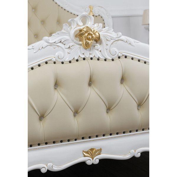 Letto matrimoniale Bryanna stile Barocco Decape avorio e foglia oro ...