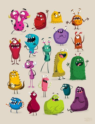 cute friendly monsters / Monday Art Print