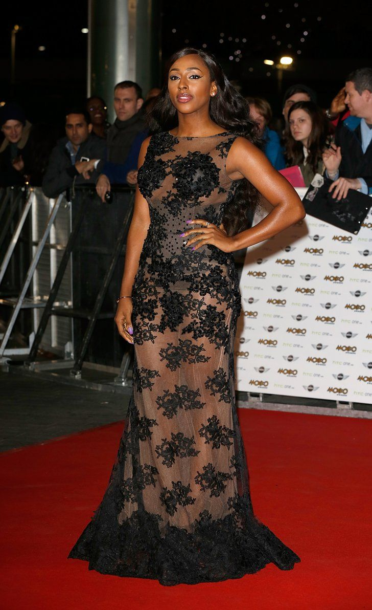 Pin for Later: See the Stars Who Sparkled on the MOBO Awards Red Carpet Alexandra Burke The X Factor alum picked a sheer gown with black lace embellishment.