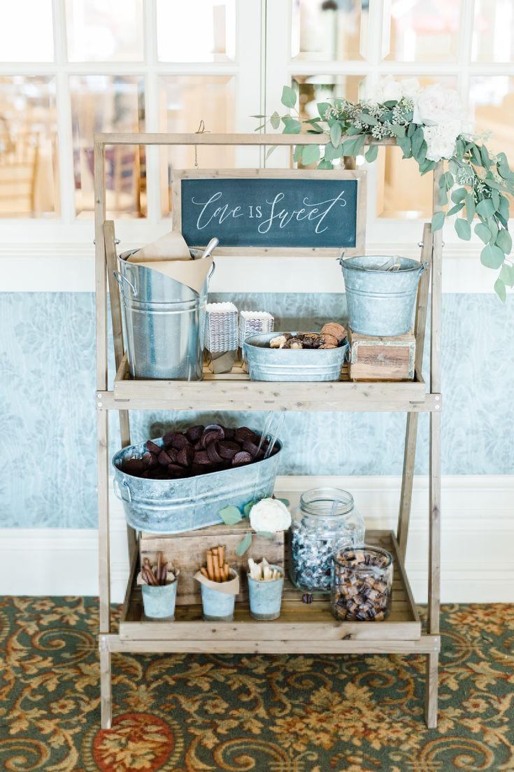 Chocolate bar that we styled on our favour display stand.  We used galvanized tins, vintage glass an wood for a rust chic look.