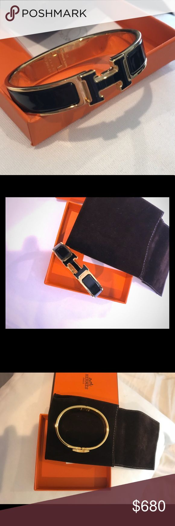 Hermes bracelet purchased in San Francisco Authentic, rare (gold and black) , barely used like new. I don't get a chance do wear it often but it deserves a new home with someone who will love it and wear it! Comes with receipt, box, dust cover, proof of purchase! Hermes Jewelry Bracelets