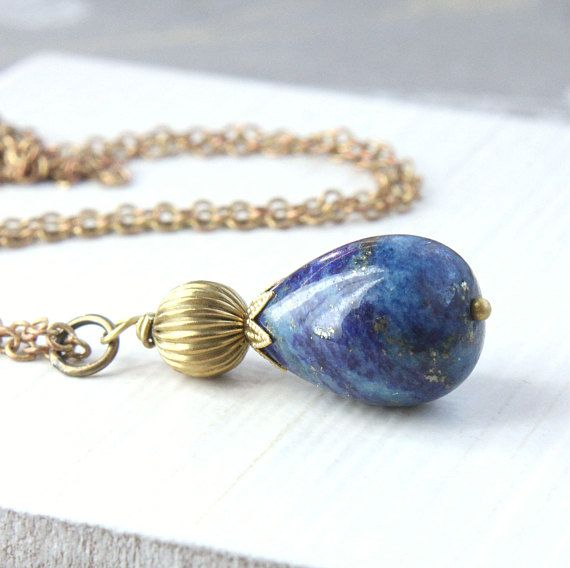 Lapis Lazuli Necklace  December Birthstone Jewelry  Blue Drop
