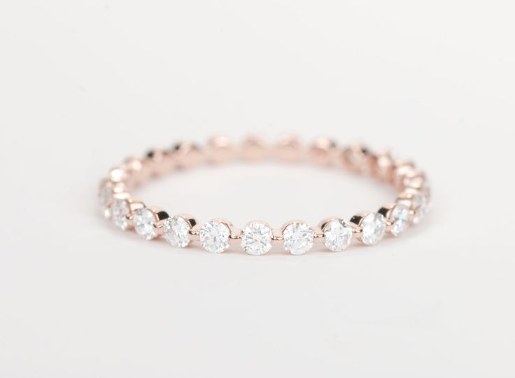 Diamond+Wedding+Band+14K+Rose+Gold+by+SundariGems+on+Etsy,+$820.00