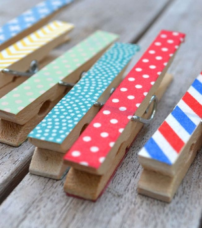 washi tape clothes pins magnets photo holders