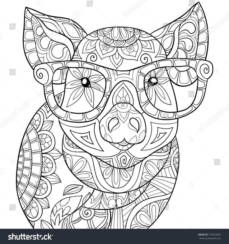 Adult Coloring Pagebook A PigZen Style Art Illustration