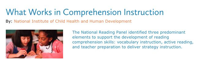 This resource provides educators information for understanding the main components of reading comprehension instruction. Reading comprehension is a complex, active process that requires intentional and thoughtful interaction between the reader and the text. This is a great resource to further educators understanding of what works in comprehension instruction.