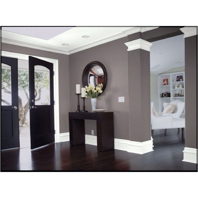 Love The Paint Color And Entryway Grey Walls White Trim