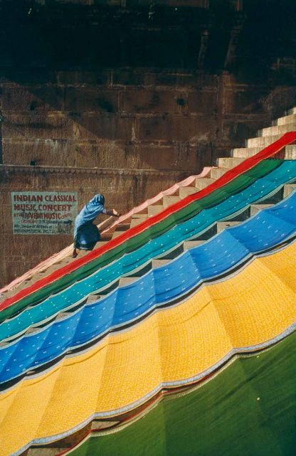 Washed saris being dried in the sun. Photo- Dinesh Khanna