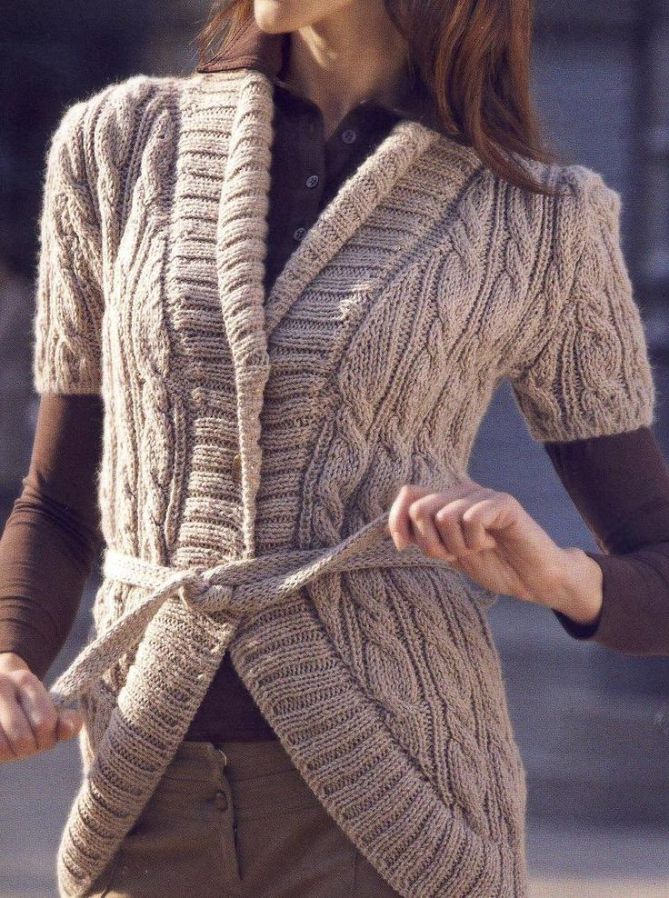 Chaleco con trenzas - short sleeve beige cabled cardigan - FREE P