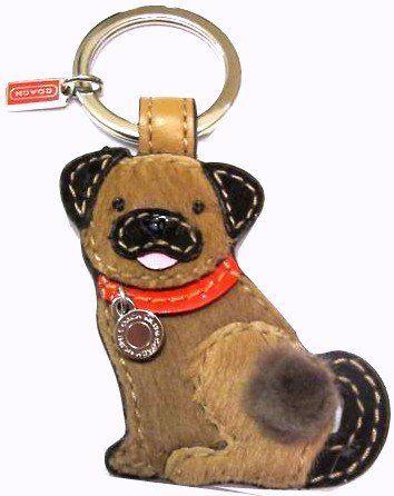 Amazon.com: Coach Mink and Leather Pug Dog Keyring / Fob / Key Ring / Purse Charm: Clothing